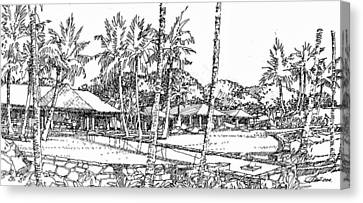 Canvas Print featuring the drawing Kukio Estate by Andrew Drozdowicz