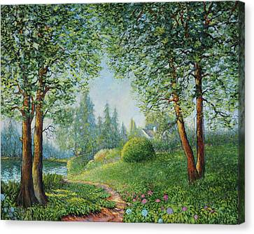 Canvas Print featuring the painting Lake Steilacoom by Charles Munn