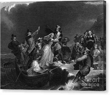 Landing Of The Pilgrims On Plymouth Canvas Print by Photo Researchers