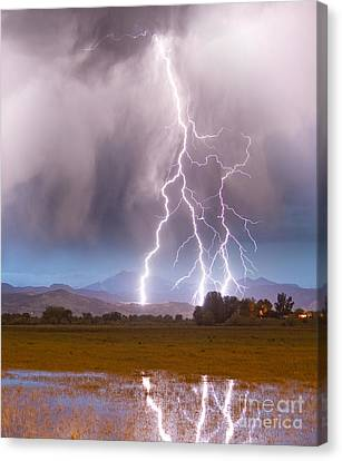 Lightning Striking Longs Peak Foothills 6 Canvas Print by James BO  Insogna