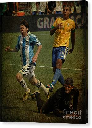 Lionel Messi Breaking Raphael Cabrals Ankles II Canvas Print by Lee Dos Santos