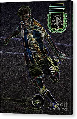 Lionel Messi Kicking Viii Canvas Print by Lee Dos Santos