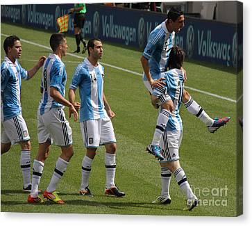 Lionel Messi The Hug Canvas Print by Lee Dos Santos