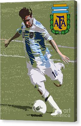 Lionel Messi The Kick Art Deco Canvas Print by Lee Dos Santos