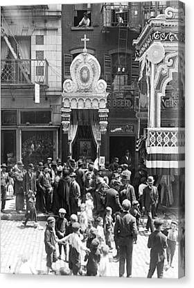 Little Italy, Street Altar To Our Lady Canvas Print by Everett
