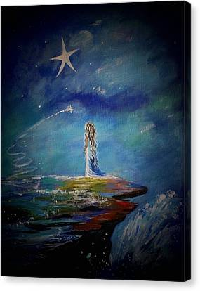 Little Wishes By The Sea Canvas Print by Leslie Allen