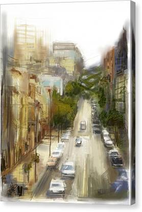 Lombard Street Canvas Print by Russell Pierce