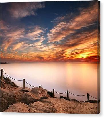 Long Exposure Of Last Night's Sunset Canvas Print by Larry Marshall