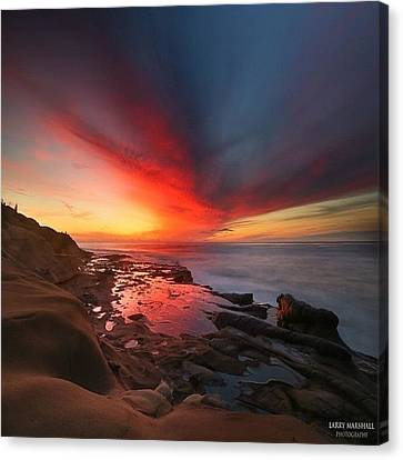 Long Exposure Sunset In La Jolla Canvas Print by Larry Marshall