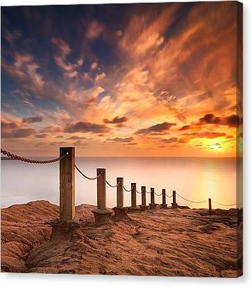 Long Exposure Sunset Taken From The Canvas Print by Larry Marshall