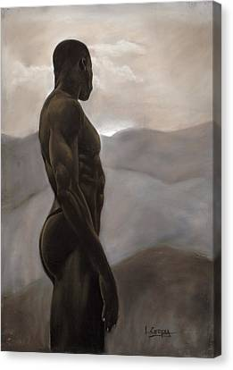 Man Looking At Sunset Canvas Print by L Cooper