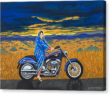 Mary And The Motorcycle Canvas Print by James Roderick