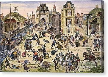 Massacre Of Huguenots Canvas Print by Granger