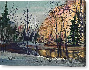 Merced River In Winter Canvas Print