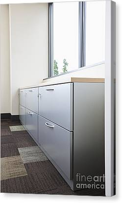 Metal Drawers And Shelf Canvas Print by Jetta Productions, Inc