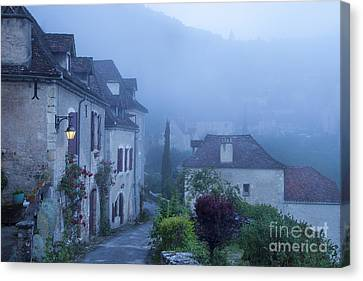 Misty Dawn In Saint Cirq Lapopie Canvas Print by Brian Jannsen