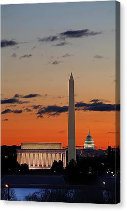 Monuments At Sunrise Canvas Print by Metro DC Photography
