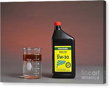 Motor Oil Dissolution Test Canvas Print by Photo Researchers, Inc.
