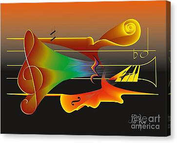Canvas Print featuring the digital art Musica Nocturna by Leo Symon