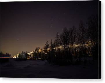 Canvas Print featuring the photograph My City Under Orion by Matti Ollikainen