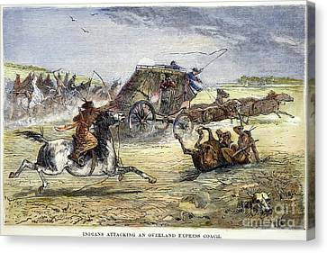 Native American Attack On Coach Canvas Print by Granger