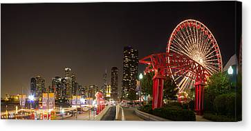 Navy Pier At Night Canvas Print by Twenty Two North Photography