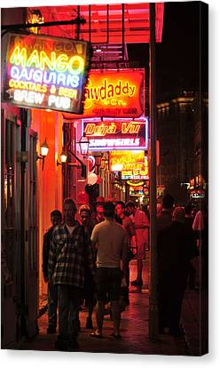 Neons On Bourbon Street Canvas Print by Bourbon  Street
