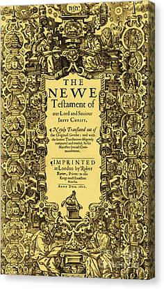 New Testament, King James Bible Canvas Print by Photo Researchers
