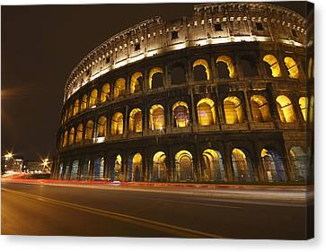 Night Lights Of The Colosseum Rome Canvas Print by Trish Punch