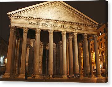 Night Lights Of The Pantheon In Piazza Canvas Print by Trish Punch
