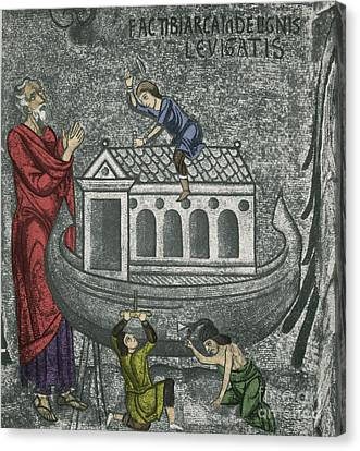 Palatina Canvas Print - Noah Building The Ark by Photo Researchers
