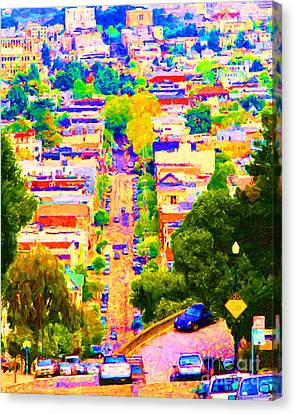 Noe Street In San Francisco 2 Canvas Print by Wingsdomain Art and Photography
