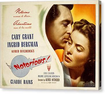 Notorious, Cary Grant, Ingrid Bergman Canvas Print by Everett