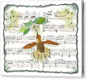 Canvas Print featuring the mixed media 1 Of 2 - Natures Symphony-the Conductor by Joy Braverman
