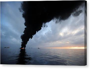 Oil Spill Burning, Usa Canvas Print by U.s. Coast Guard