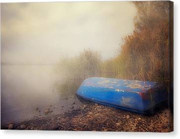 Old Boat In Morning Mist Canvas Print