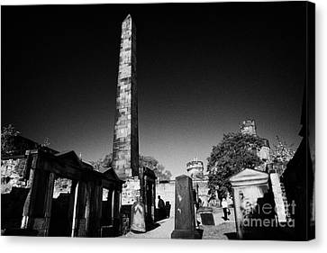 Old Calton Cemetery Burial Ground With Political Martyrs' Obelisk Edinburgh Scotland Uk United Kingd Canvas Print by Joe Fox
