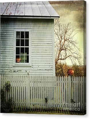 Old Farm  House Window  Canvas Print by Sandra Cunningham