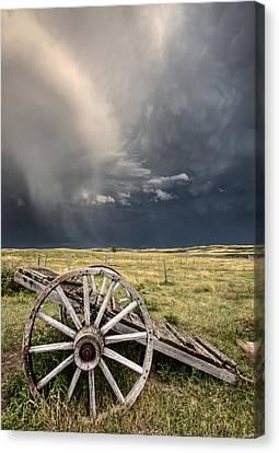 Old Prairie Wheel Cart Saskatchewan Canvas Print by Mark Duffy