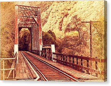 Old Railroad Bridge At Near Historic Niles District In California . 7d10757 Canvas Print by Wingsdomain Art and Photography