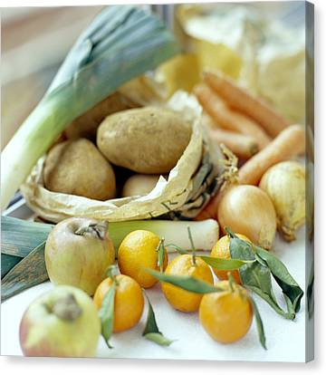 Organic Fruits And Vegetables Canvas Print by David Munns