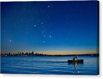 Orion Over Vancouver, Canada Canvas Print by David Nunuk