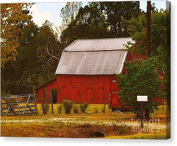Canvas Print featuring the photograph Ozark Red Barn by Lydia Holly