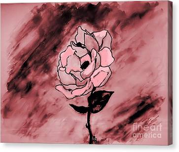 Painted Rose Abstract Canvas Print by Marsha Heiken