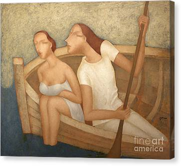 Pair In A Boat  Canvas Print