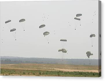 Paratrooper Supplies Coming Canvas Print by Skip Brown
