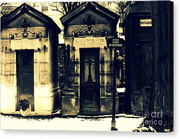 Paris Cemetery Montparnasse -  Mausoleums  Canvas Print by Kathy Fornal