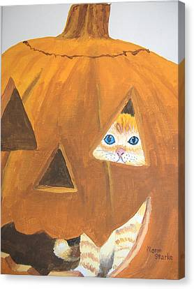Canvas Print featuring the painting Peekaboo by Norm Starks