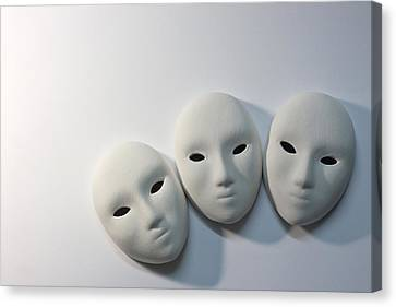 Plaster Masks In Studio Canvas Print by Kantapong Phatichowwat