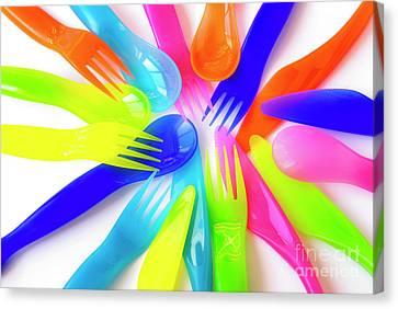 Plastic Cutlery Canvas Print by Carlos Caetano